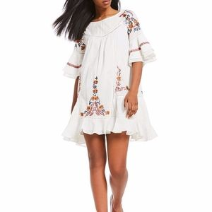 New Free People Vintage Inspired Embroidered White